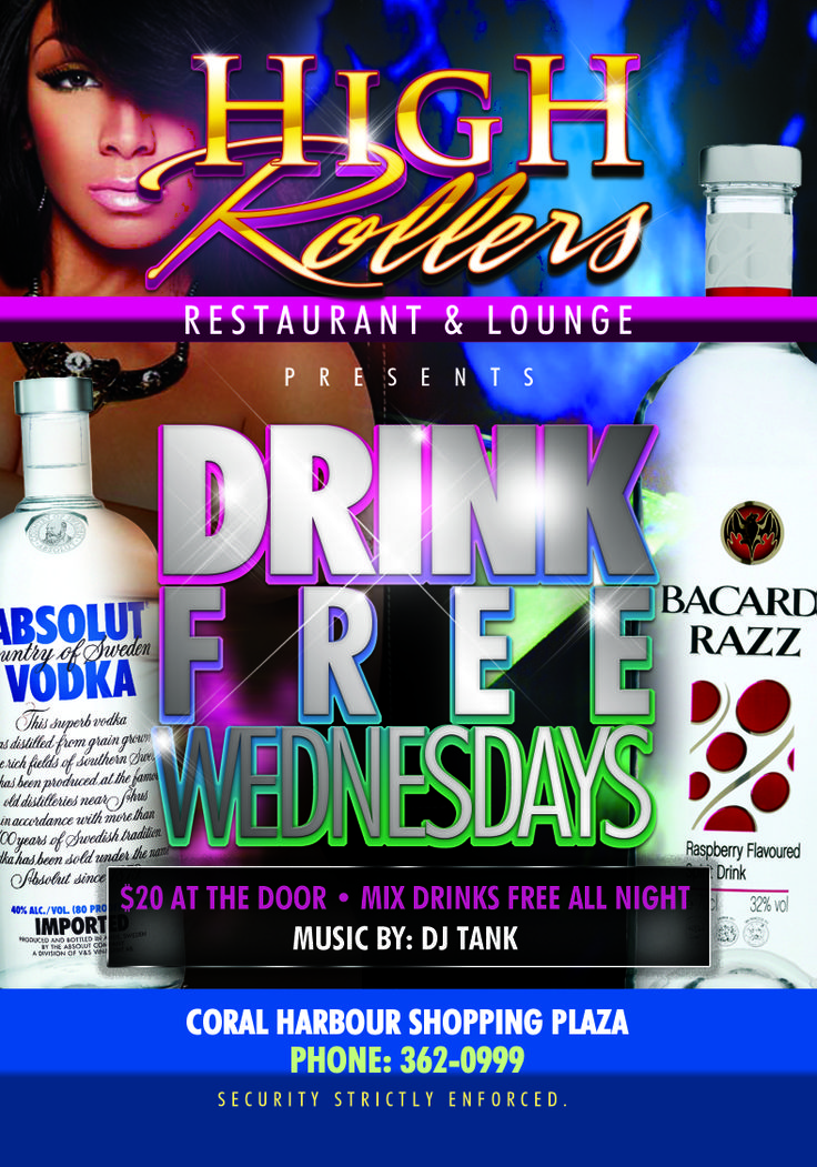 This and every Wednesday enjoy Happy Hour at High Rollers. Bacardi, your favorite spirits company world wide.