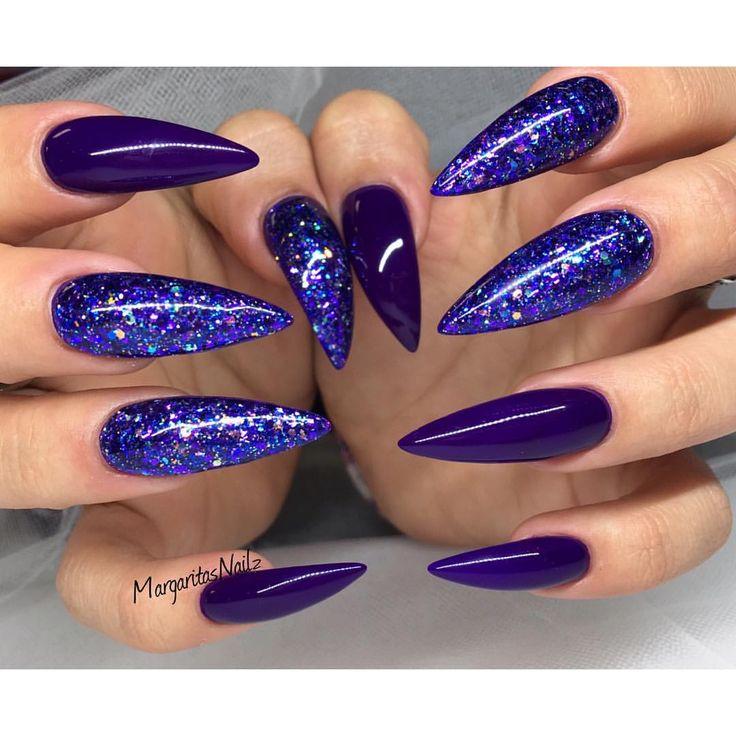 Purple glitter stiletto nails