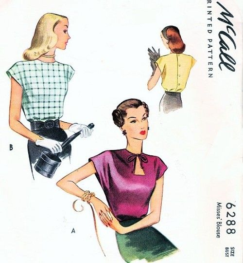 1940s Film Noir KEYHOLE Neckline Blouse Pattern McCall 6288 2 Lovely Cap Sleeve Button Back Styles Bust 30 Vintage Sewing Pattern