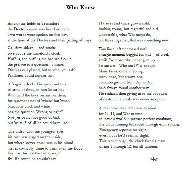 Doctor Who - Imgur. I only got through the first stanza and burst into tears, pinning now reading later....