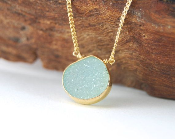Hokulea necklace  aqua green gold druzy by kealohajewelry on Etsy