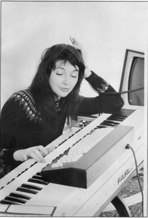 Kate Bush fiddling on a Fairlight, circa 1982