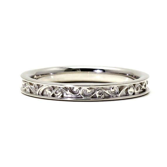 14K Filigree Wedding Band for Vintage Art Nouveau and Art Deco Engagement Ring on Etsy, $355.00