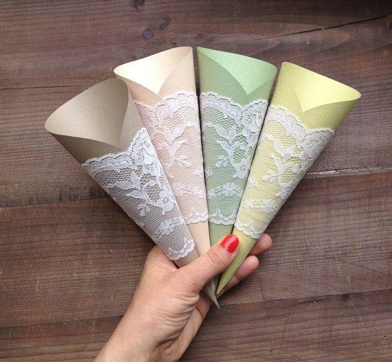 Wedding Cone Paper Cones Wedding Lace Wedding by TheWeddingBirds