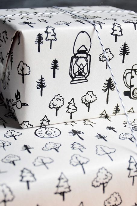 Wrap presents in this hand drawn camping wrapping paper!