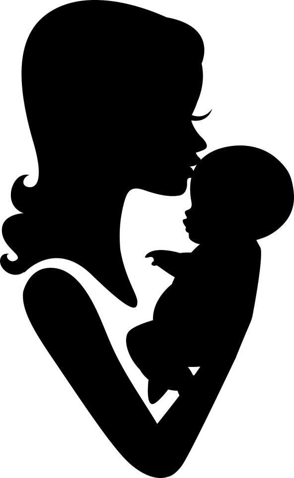картинка силуэт матери помощью