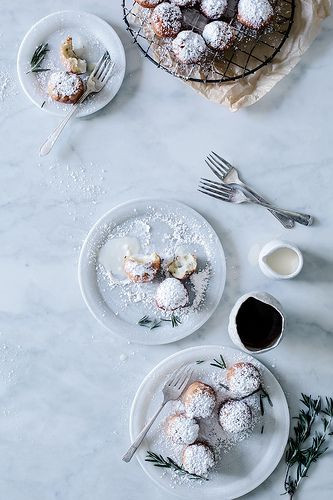 Rosemary and White Chocolate Truffle Filled Beignets