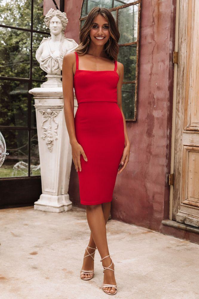 Made In Michigan Midi Dress Red Dress Michigan Midi Red In 2020 Kleidung Mode Ausgehkleider Kleidung
