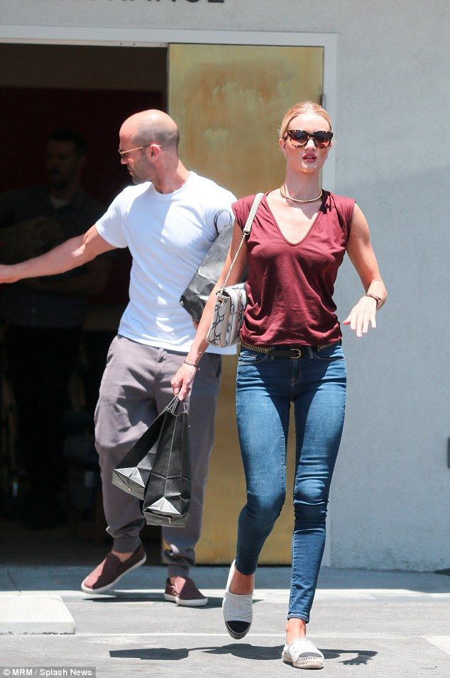 Rosie Huntington-Whiteley and Jason Statham were spotted running errands together in California on Saturday.