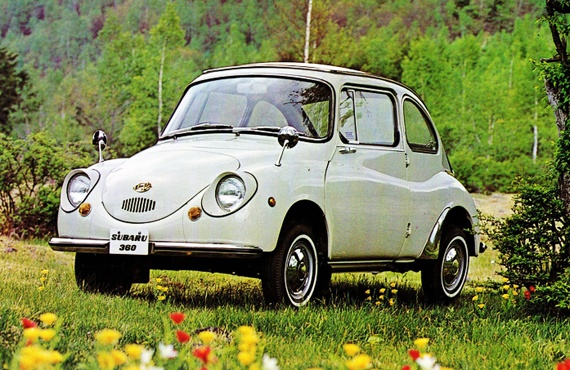 Subaru 360 kei car, 1958 - $500 in Japan. 66+ mpg - top speed of 65 Mph. DOWN HILL and WITH A TAIL WIND!