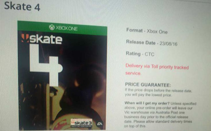 A listing for a big box retailer shows Xbox One box art, and the Skate 4 release date set for August, as well as an included digital copy of Skate 3.
