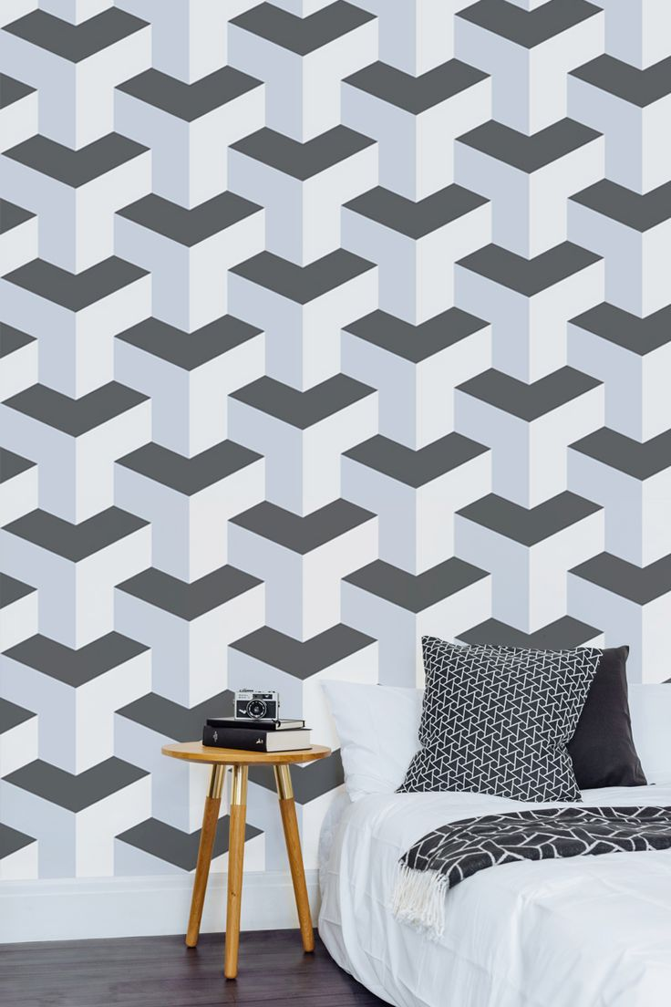 Want a wallpaper design that stands out from the crowd? Take a look at this 3D wallpaper that looks like it's literally about to leap off the wall. Cleverly combining tone and sleek lines, this design looks great in a contemporary bedroom or games room.