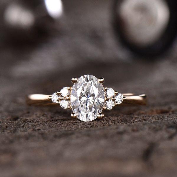 Forever One Moissanite Engagement ring Oval Yellow Gold 5x7mm Moissanite Wedding Ring 0.9-1 carat gemstone with Diamond Bridal Ring 14K/18K