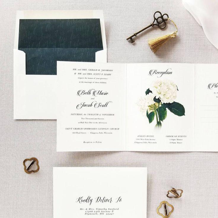 Elegant Hydrangea Botanical Wedding Invitation Collection With Coordinating Envelope Liner Www Mintforhue