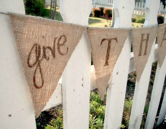 SOLD OUT -- Thanksgiving Decorations, Thanksgiving Banner, Give Thanks bunting REVERSIBLE with Polka Dots. $31.00, via Etsy.
