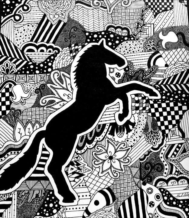 Another horse zentangle