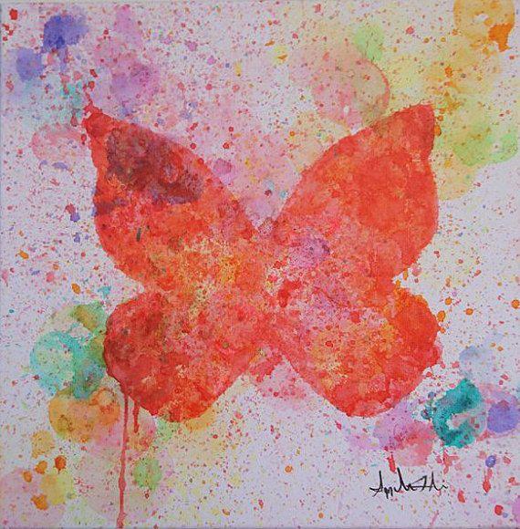 Papillon Peinture acrylique unique technique original