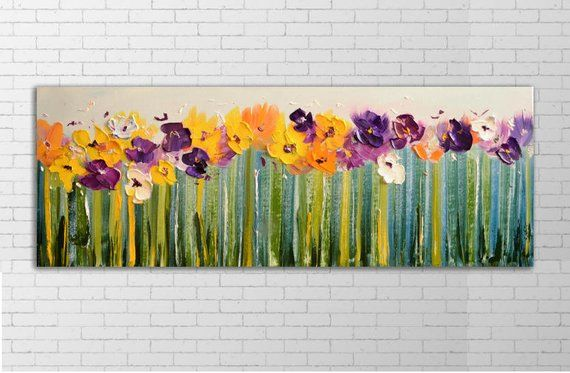 Extra Large Wall Art Farmhouse Painting Long Narrow Greenery Etsy Abstract Flower Painting Horizontal Painting Abstract Flowers