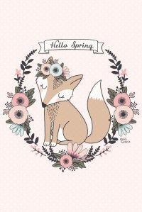 """Illustration Renard """"Hello Spring"""" // wallpaper iPhone"""