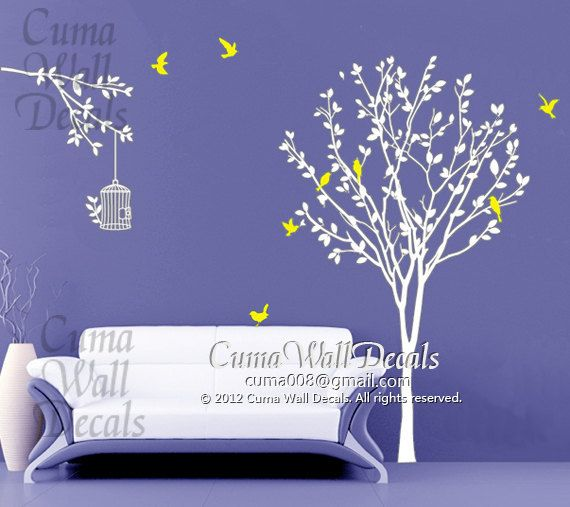 Best Cherry Blossom Wall Decal Nursery Design Images On - Yellow bird wall decals