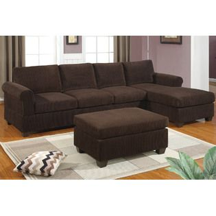 livorno sectional with reversible chaise in rich chocolate