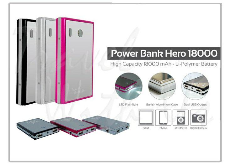PowerBank Hero Metal 18000mAh, Only Rp 367.000,- *not include shipping cost  - Memiliki 2 output: 1A untuk men-charging handphone, smartphone dll, dan 2,1A untuk tablet - Dapat digunakan untuk Handphone, smartphone, BlackBerry, PSP, pocket camera, tablet (Android, I-pad) dll. - Design yang kokoh, berlapis stainless-steel. - 4 lampu LED, sebagai lampu indikator saat pengisian ulang. - 1 lampu LED, yang dapat digunakan sebagai lampu darurat