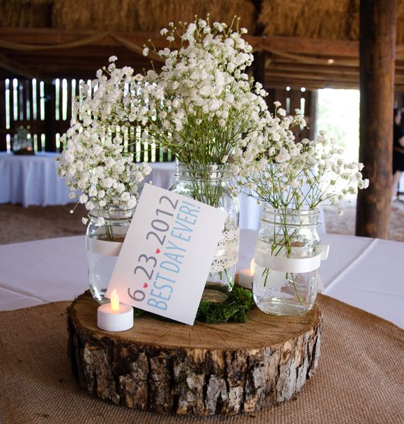 mason jar centerpieces   Our centerpieces were made from burlap squares, mason jars with ribbon ...