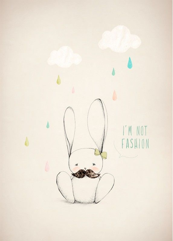Affiche Illustration Lapin - Dessin Mode - Aline Caron