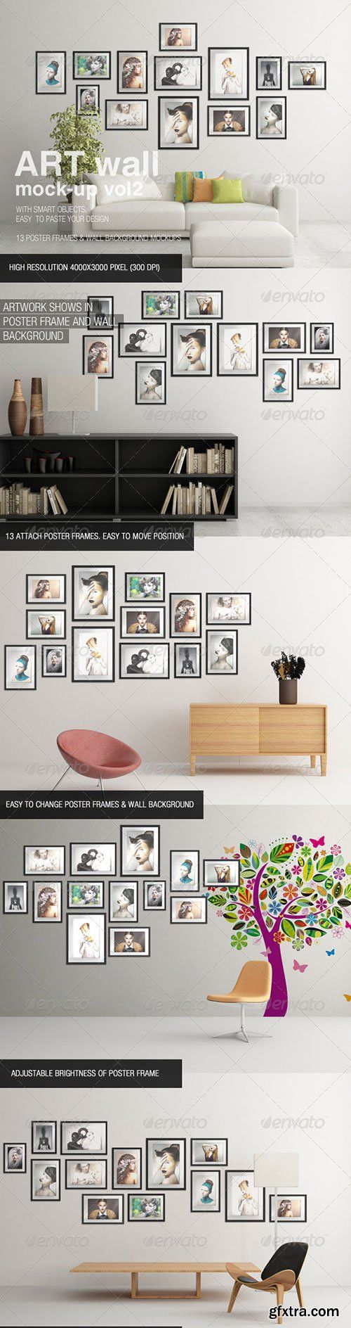 GraphicRiver - Art Wall Mock-Up Vol.2 » Graphic GFX PSD Sources Stock Vector Image Tutorials Download