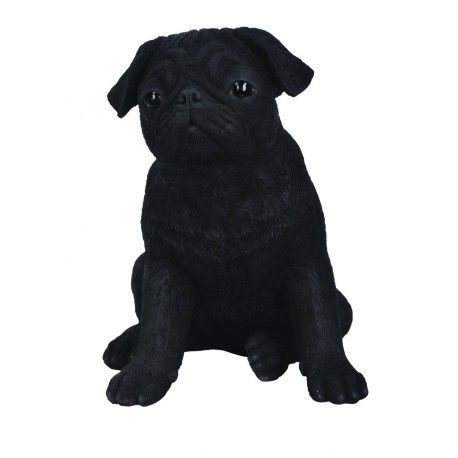 Real Life Carlino Pug Negro 19cm