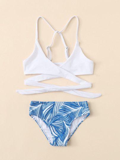 Kids Leaf Print Wrap Bikini Set -SheIn(Sheinside)