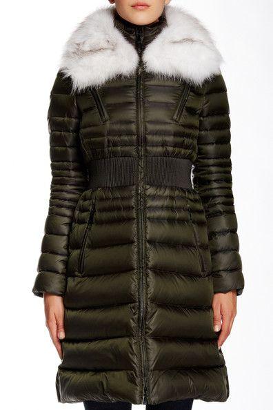 Genuine Fox Fur Trimmed Belted Down Jacket