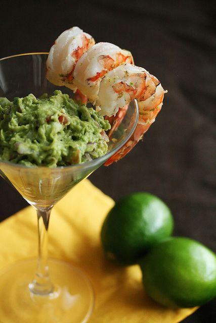 Margarita Shrimp with Grilled Avocado Guacamole