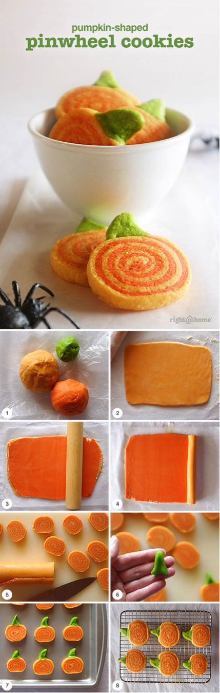 These fun pumpkin-shaped pinwheel cookies are a great dessert for Halloween or Thanksgiving.
