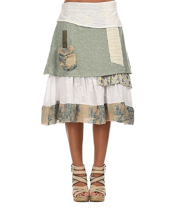 Look at this Ian Mosh Green Water & White Layered Midi Skirt on #zulily today!