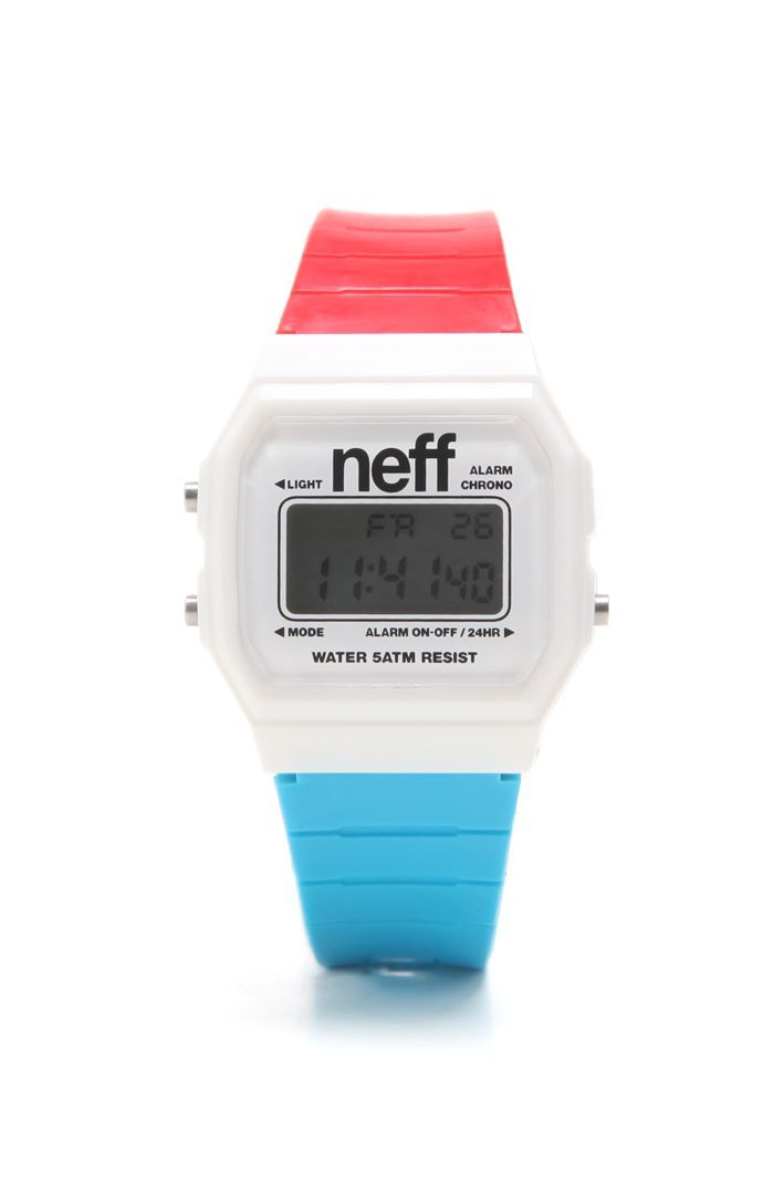Multi color watch with white Neff branding. Custom designed ABS case with soft polyurethane strap. Water resistant to 165 feet. Equipped with alarm, military time, backlight and date.