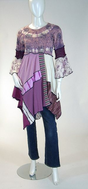 Recycled Reconstructed Mauve & Plum Tunic