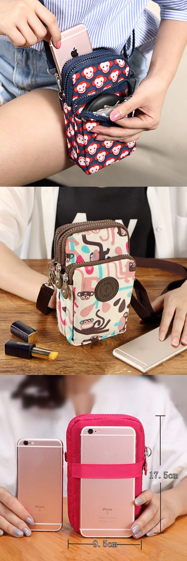 US$7.99. There are three layers to carry smartphones, earphone, cable and other things. With Detachable adjustable strap, can be a shoulder bag, also a arm bag.  Can store two smartphones, also money, cards, keys, cosmetics and so on. It is suitable for travel, sport and other outdoor activities.