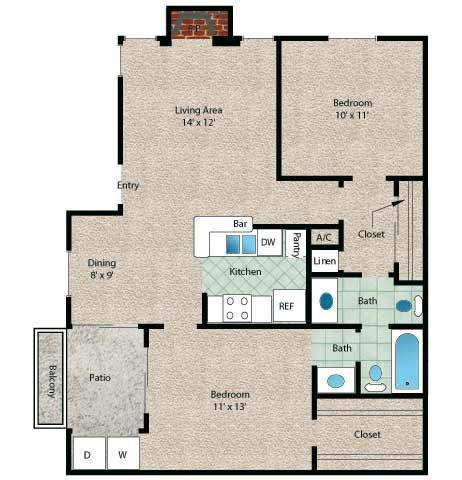 Cayman floor plan 2 bedroom 1 5 bath with approximately for Bedroom 70 square feet