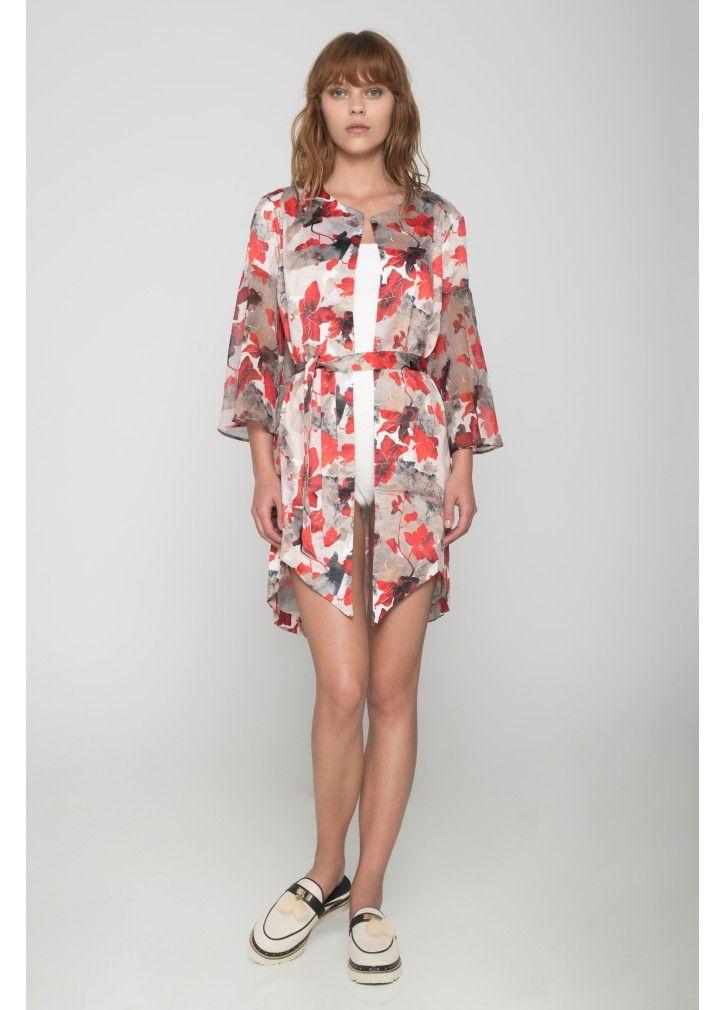 62dafd435d86 Floral Red Kimono