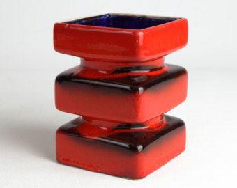 Rote Vintage PAN Keramikvase, Westdeutsche Keramik, Mitte der 70er Jahre des Jahrhunderts