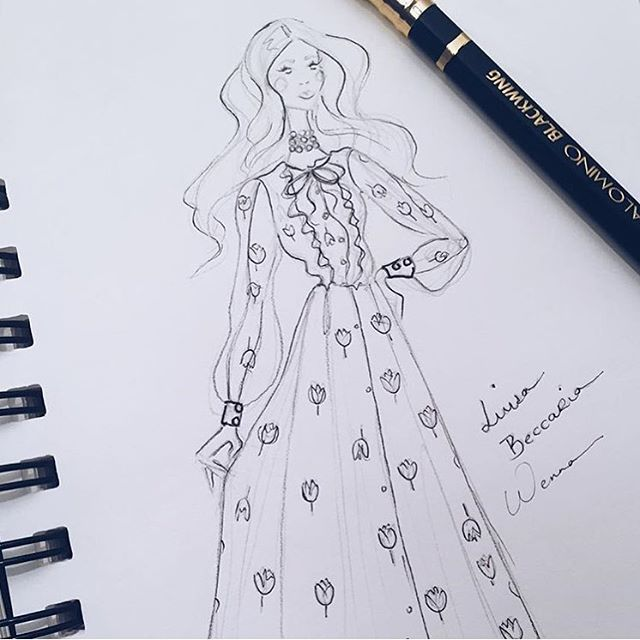 Tulip dream #luisabeccaria_ss16  Illustration by @wennaprive  Thank you!  #luisabeccaria#ss16#fashionillustration#romantic#trueromance#dreamydresses#flowerpower#romance