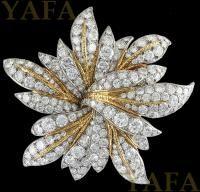 VAN CLEEF & ARPELS Two Tone Diamond Brooch