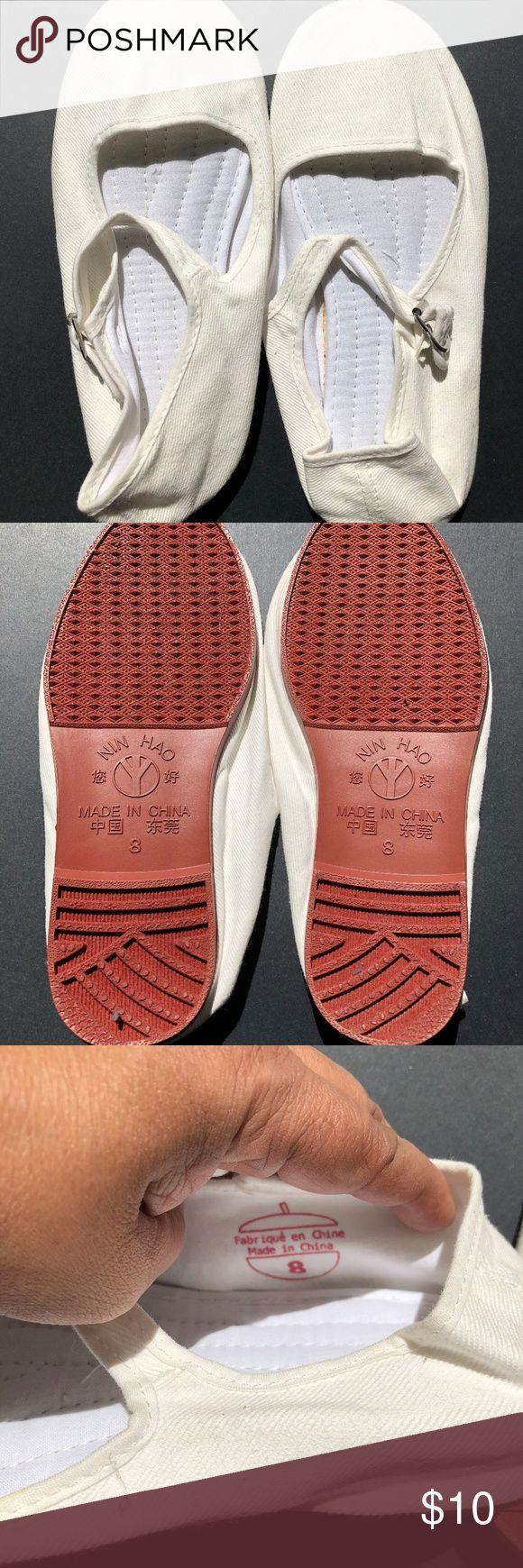 Urban Outfitters Cotton Mary Janes - Size 8 Urban Outfitters Cotton Mary Janes sized 8 in white.  Never worn but slightly yellowed from age (it is 2-3 years old). Urban Outfitters Shoes Flats & Loafers