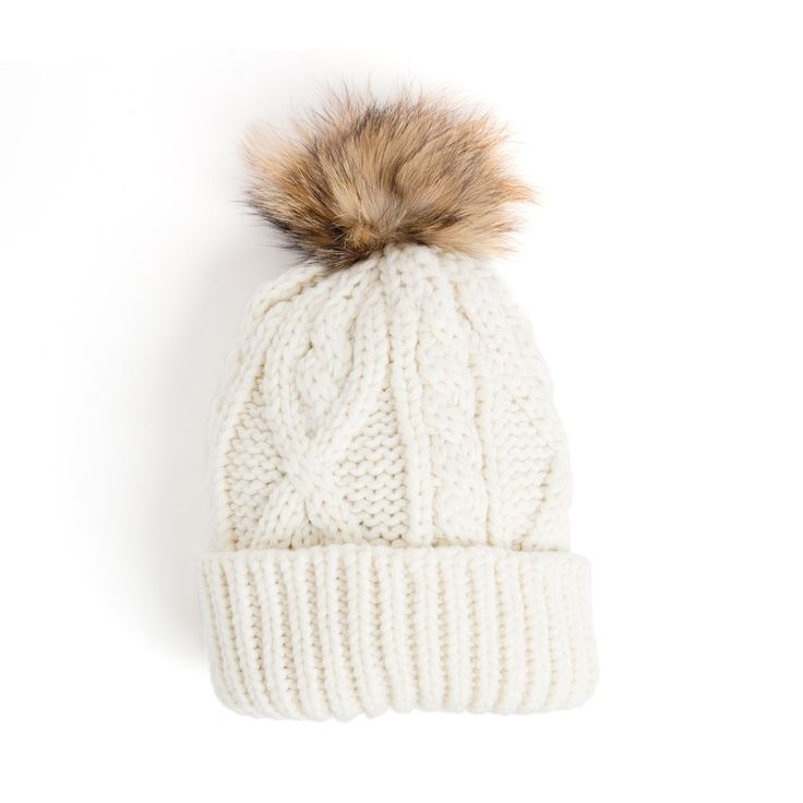 White Knit Hat with Pom                                                                                                                                                                                 More