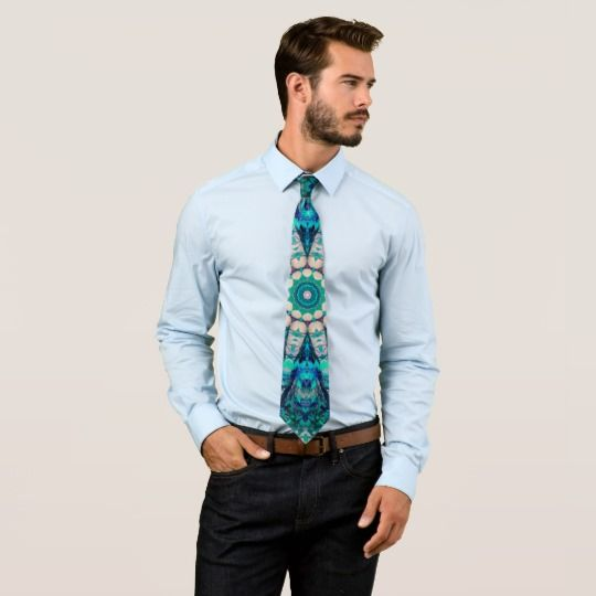 Blue Mandala Neck Tie by www.zazzle.com/htgraphicdesigner* #zazzle #gift #giftidea #tie #blue #mandala #fathersday #necktie #turquoise