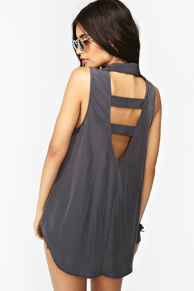 Caged Back Shirt in Slate