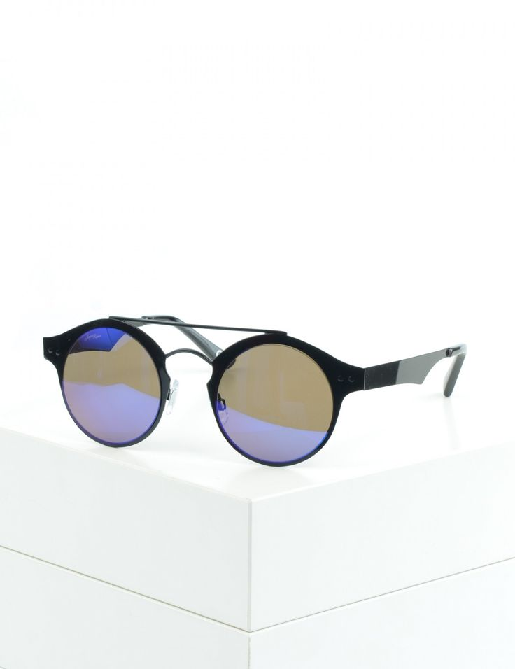 Black 1930s Style Sunglasses w/ Round Lenses