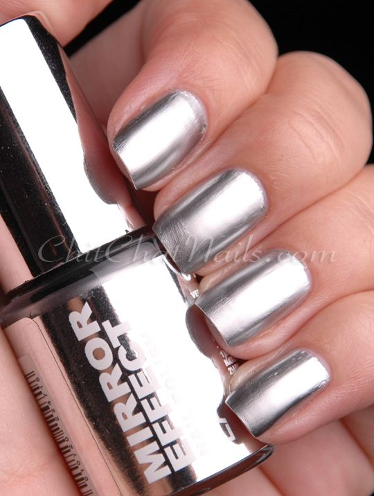 Silver metallic nail polish mirror for Mirror nail polish