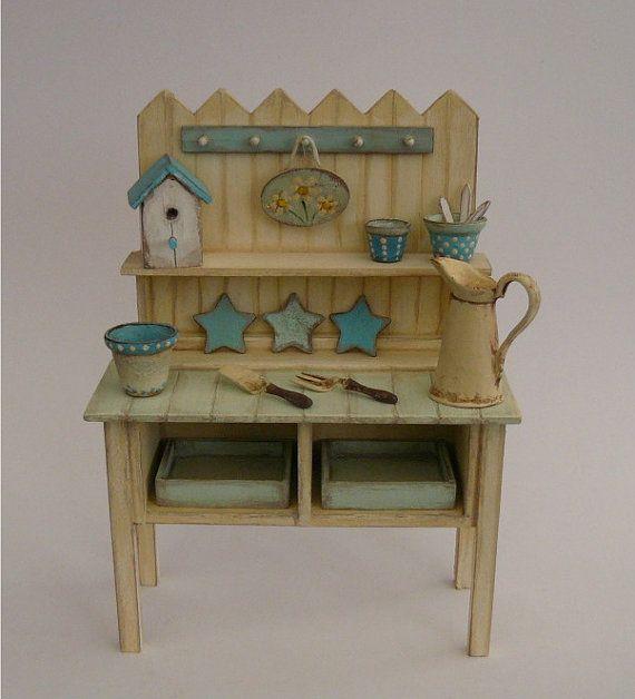 shabby chic potting bench nikki 1 12 dolls house garden potting